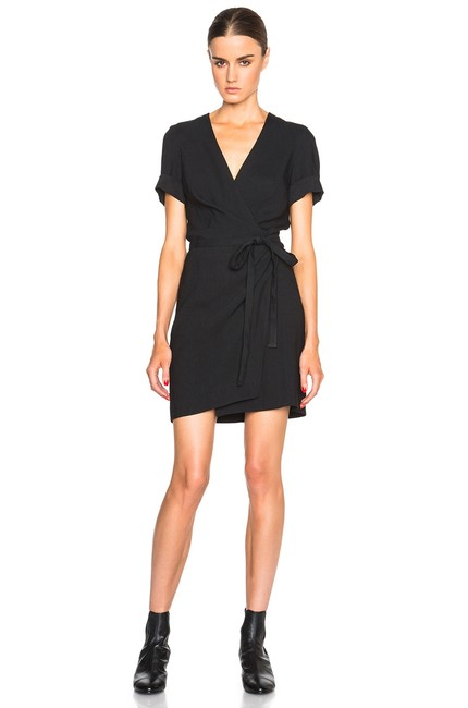 Item - Black New Wrap Linen Kansas Lbd 36 Short Casual Dress Size 4 (S)