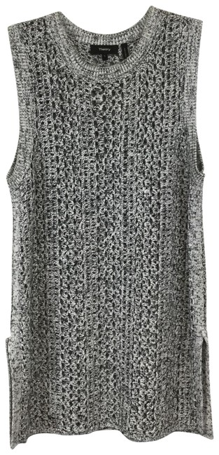 Preload https://img-static.tradesy.com/item/23937907/theory-open-knit-sleeveless-size-large-black-and-white-sweater-0-1-650-650.jpg