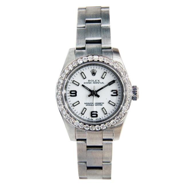 Rolex Stainless Steel Ladies Oyster Perpetual No Date with Diamond Bez Watch Rolex Stainless Steel Ladies Oyster Perpetual No Date with Diamond Bez Watch Image 1