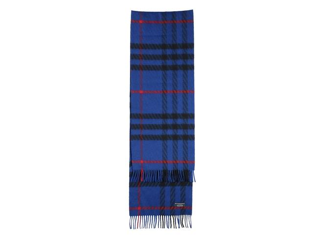 Burberry Blue Cashmere Check Scarf/Wrap Burberry Blue Cashmere Check Scarf/Wrap Image 1