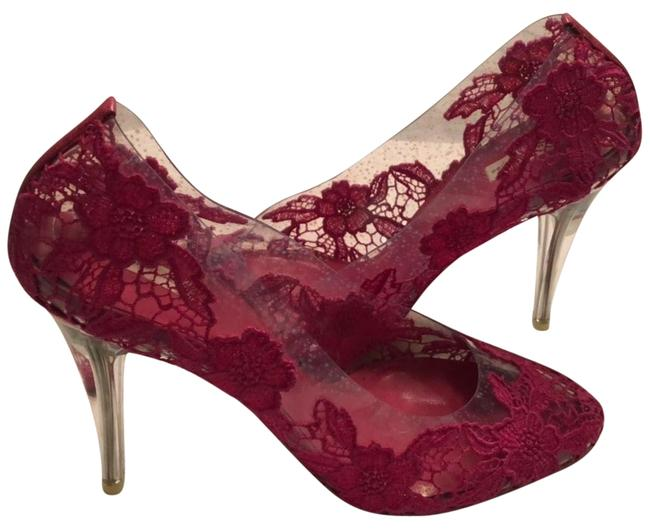 Marc Jacobs Clear Vinyl and Fuchsia Lace Pumps Size EU 40 (Approx. US 10) Regular (M, B) Marc Jacobs Clear Vinyl and Fuchsia Lace Pumps Size EU 40 (Approx. US 10) Regular (M, B) Image 1