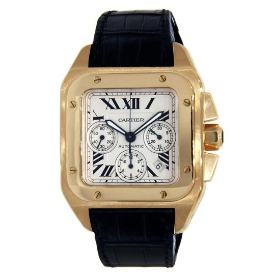 Preload https://img-static.tradesy.com/item/23938071/cartier-yellow-gold-santos-100-xl-chronograph-with-leathers-band-watch-0-0-540-540.jpg