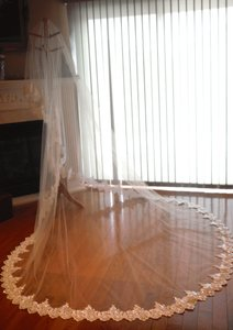 Ivory Long Mantilla Cathedral Lace - Beaded In Bridal Veil