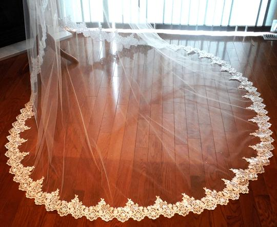 Mantilla Cathedral Lace Veil - Beaded In Ivory