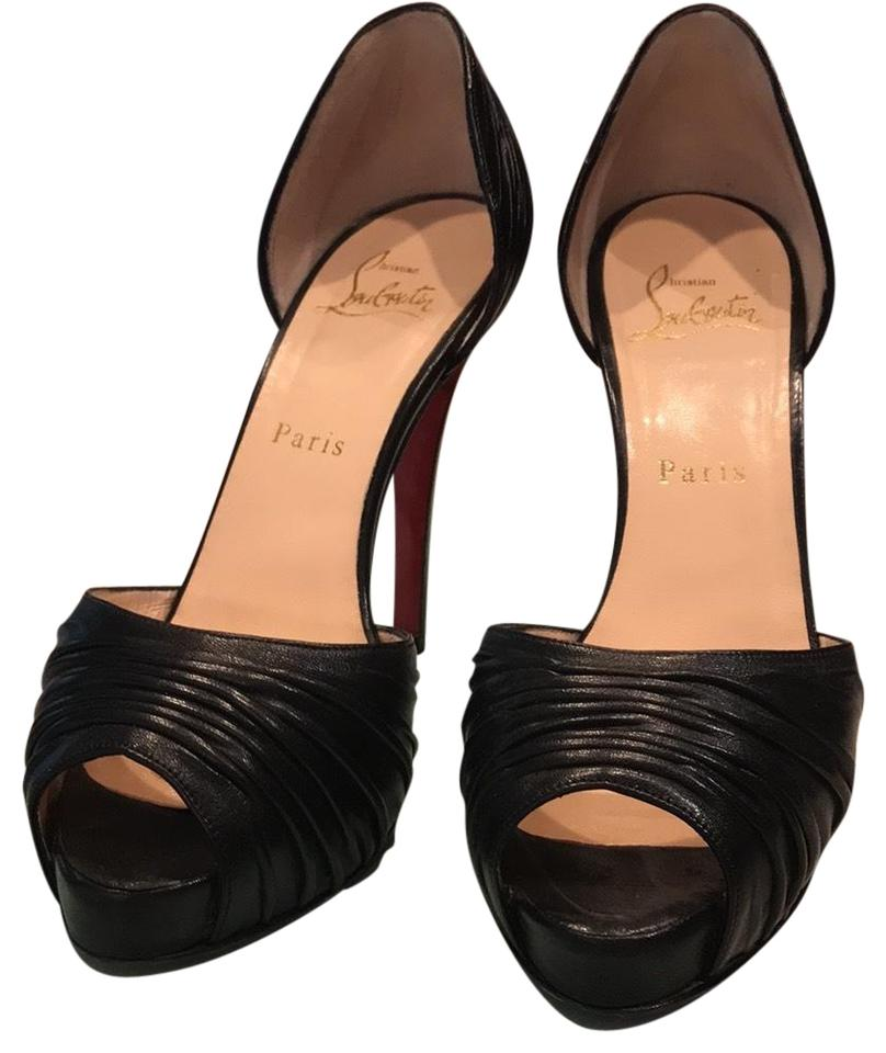 size 40 31c06 e763e Christian Louboutin Ruched Black Leather Peep Toe Pumps Size EU 37 (Approx.  US 7) Regular (M, B) 65% off retail