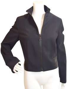 Akris Punto Kidskin Leather Fully Lined Swiss Made Fall Black Jacket