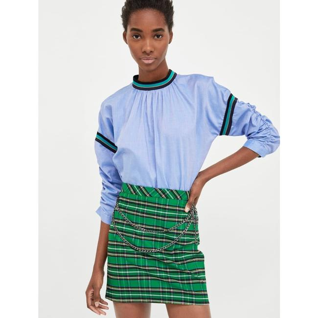 Zara Mini Skirt green blue Image 4