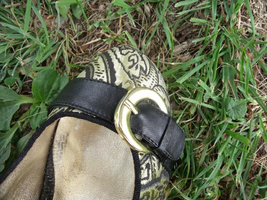 Lovely People Brocade Buckle Autumn Supermodel Sexy Gold & Black Pumps Image 4