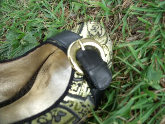 Lovely People Brocade Buckle Autumn Supermodel Sexy Gold & Black Pumps Image 5