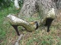 Lovely People Brocade Buckle Autumn Supermodel Sexy Gold & Black Pumps Image 8