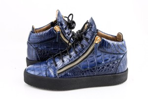 Giuseppe Zanotti Blue Zippered Mid Top Sneakers Croc Embossed Shoes