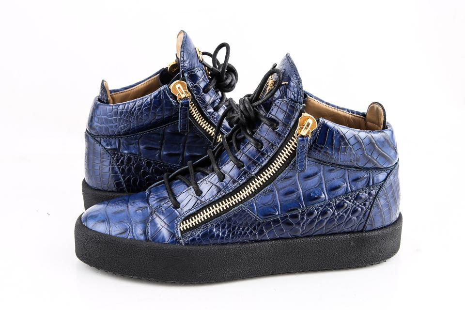 f9a43a74605 Giuseppe Zanotti Blue Zippered Mid Top Sneakers Croc Embossed Shoes ...