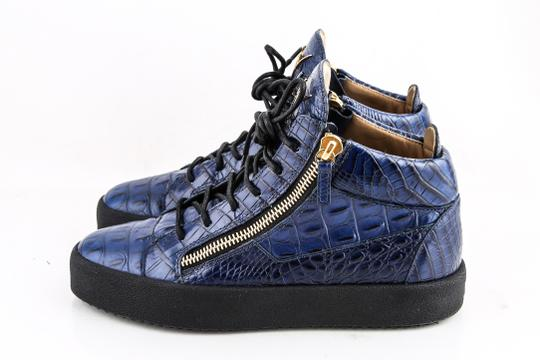 Giuseppe Zanotti Blue Zippered Mid Top Sneakers Croc Embossed Shoes Image 2