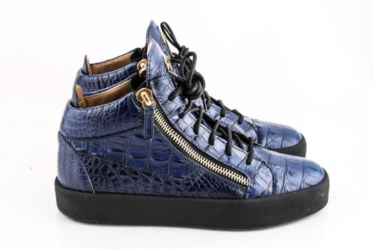 Giuseppe Zanotti Blue Zippered Mid Top Sneakers Croc Embossed Shoes Image 3