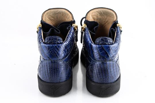 Giuseppe Zanotti Blue Zippered Mid Top Sneakers Croc Embossed Shoes Image 4