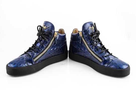 Giuseppe Zanotti Blue Zippered Mid Top Sneakers Croc Embossed Shoes Image 5