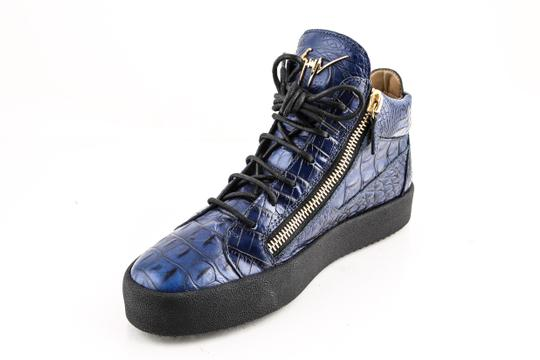 Giuseppe Zanotti Blue Zippered Mid Top Sneakers Croc Embossed Shoes Image 7