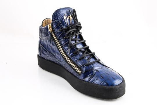 Giuseppe Zanotti Blue Zippered Mid Top Sneakers Croc Embossed Shoes Image 8