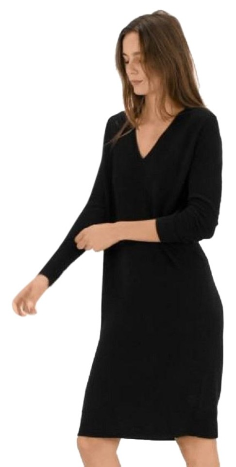 2132ca9584a Everlane Black The Cashmere V-neck Midi Mid-length Work Office Dress ...