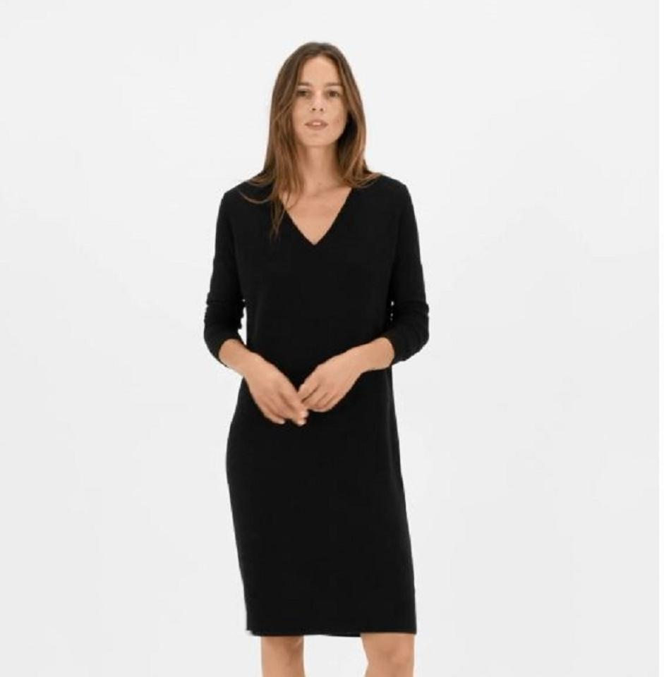 6d748cdf078 Everlane Black The Cashmere V-neck Midi Mid-length Work Office Dress Size 4  (S) - Tradesy