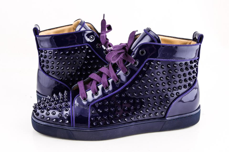 best service b84d6 9d23d Christian Louboutin Purple Louis Flat Glossy Patent Spikes Shoes 18% off  retail