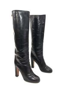 Pollini Vintage Stacked Heels Black Boots