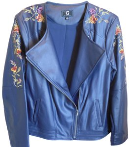 G by Giuliana Faux Leather Moto XL Navy Embroidered Jacket Jacket