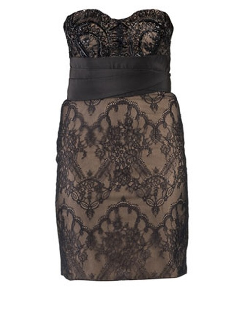 Marchesa Notte Embellished Embroidered Strapless Lace Evening Dress Image 2