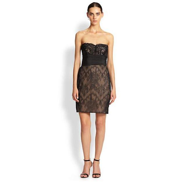 Marchesa Notte Embellished Embroidered Strapless Lace Evening Dress Image 4