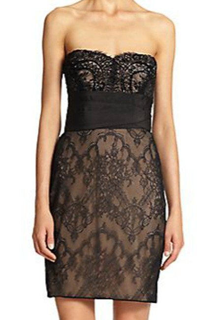 Marchesa Notte Embellished Embroidered Strapless Lace Evening Dress Image 5