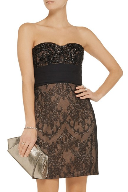 Marchesa Notte Embellished Embroidered Strapless Lace Evening Dress Image 7