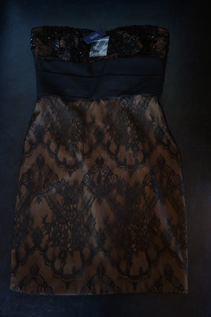 Marchesa Notte Embellished Embroidered Strapless Lace Evening Dress Image 8
