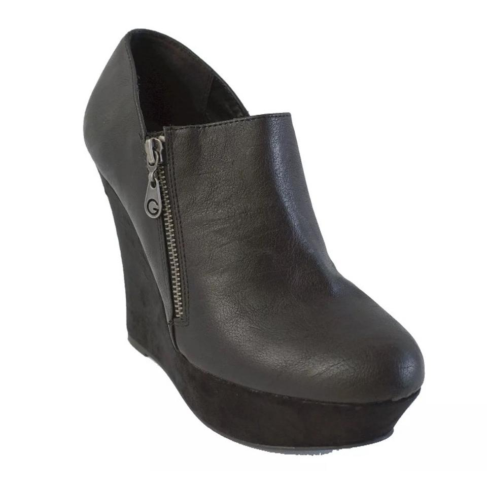 Guess Vegan Black Perika Ankle Wedge Vegan Guess Leather Boots/Booties e6d6c7