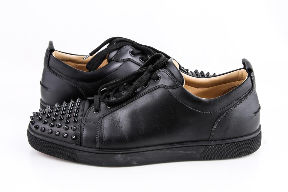 huge selection of e1a78 718f0 Christian Louboutin Black Louis Junior Spike-embellished Low-top Trainers B  Shoes 15% off retail
