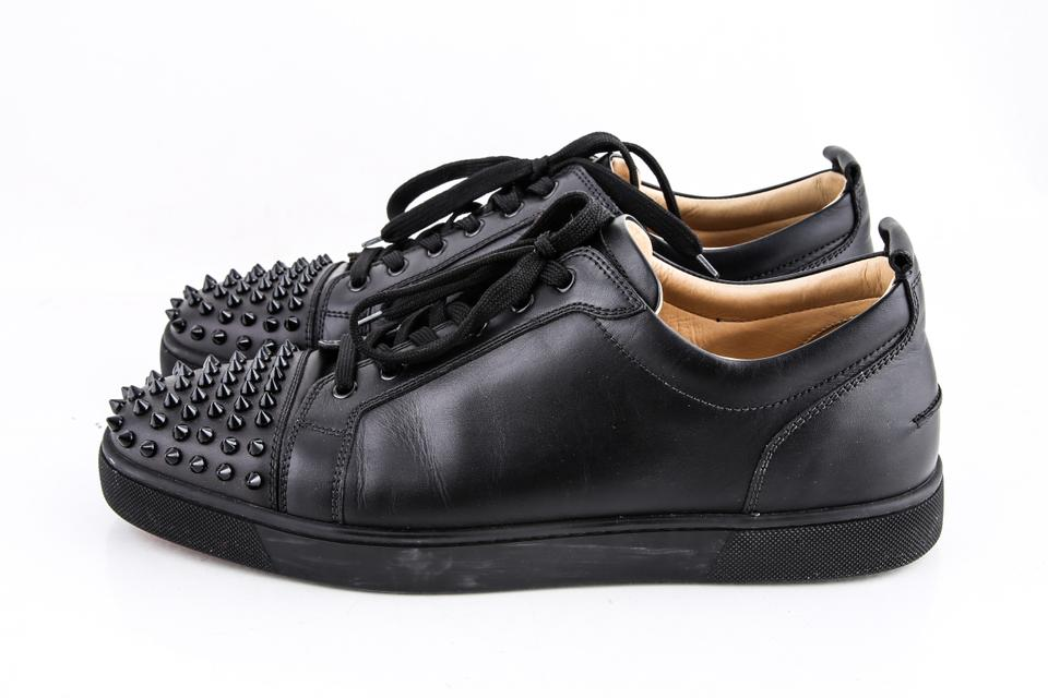 Christian Louboutin Black Louis Junior Spike-embellished Low-top Trainers B  Shoes 01a51046e6a5