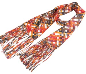 Hermès Hermes logo ribbon orange multi color scarf