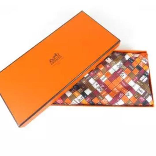 Hermès Hermes logo ribbon orange multi color scarf Image 1
