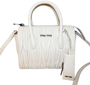 Miu Miu Matelasse Bauletto Leather Tote in White