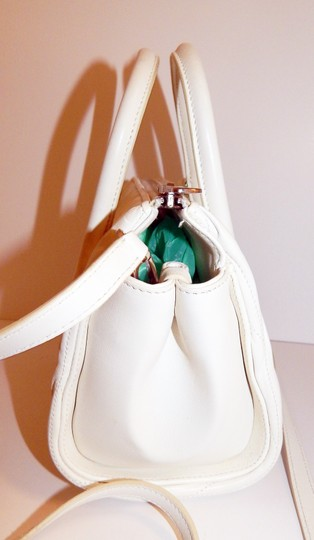 Miu Miu Matelasse Bauletto Leather Tote in White Image 3