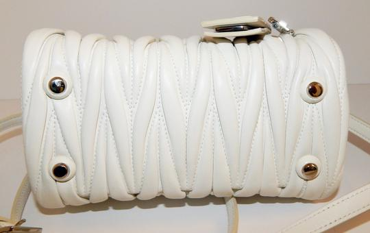 Miu Miu Matelasse Bauletto Leather Tote in White Image 4