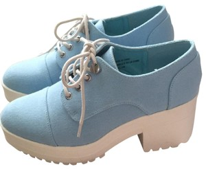 Urban Outfitters Canvas Lace Up Light blue and white Platforms