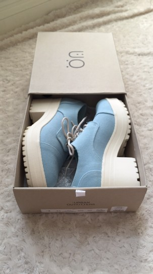 Urban Outfitters Canvas Lace Up Light blue and white Platforms Image 1