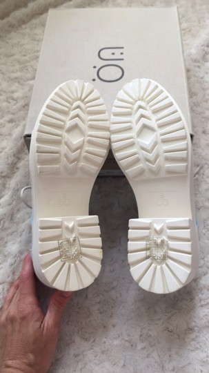Urban Outfitters Canvas Lace Up Light blue and white Platforms Image 3