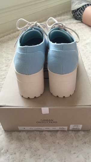 Urban Outfitters Canvas Lace Up Light blue and white Platforms Image 4