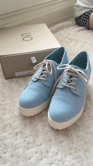 Urban Outfitters Canvas Lace Up Light blue and white Platforms Image 6