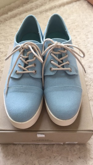Urban Outfitters Canvas Lace Up Light blue and white Platforms Image 7