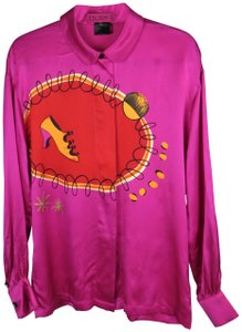 Escada Couture Margaretha Ley Vintage Silk Abstract Print Top Fuchsia Pink Multi-color