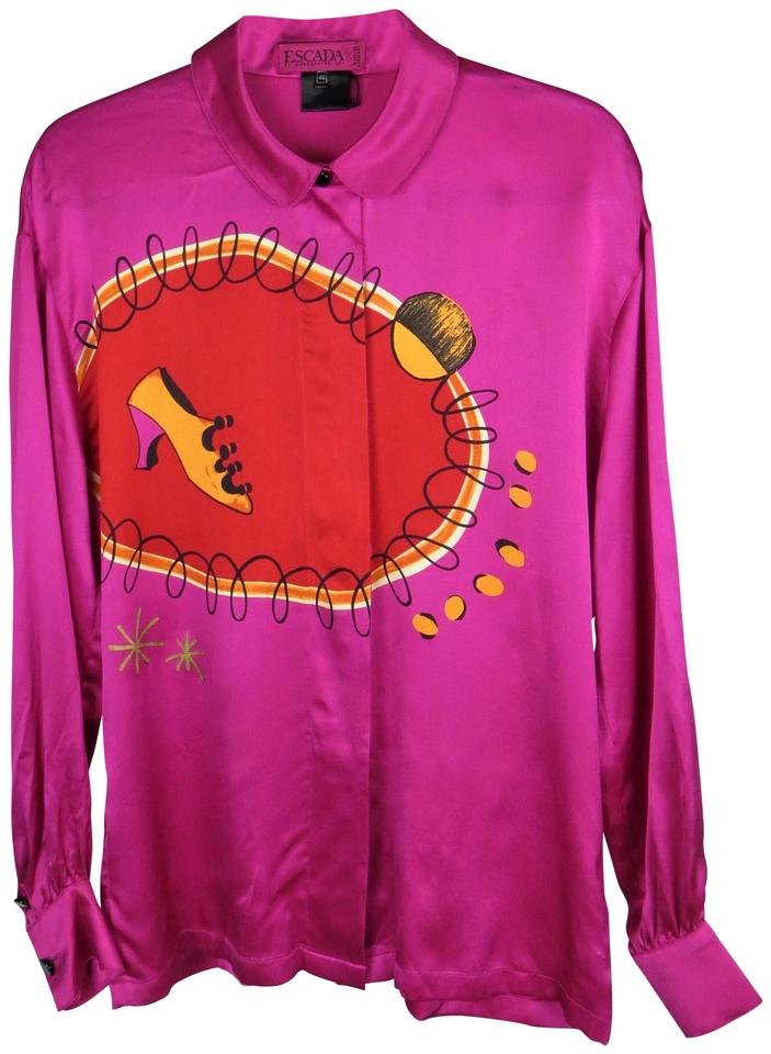 484d50f56c8cd0 Escada Couture Margaretha Ley Vintage Silk Abstract Print Top Fuchsia Pink  Multi-color Image 0 ...
