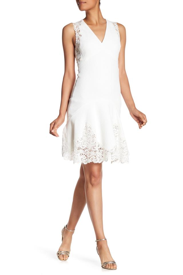13c567a28b57 Rebecca Taylor White Textured A-line Sleeveless with Lace 918209d438 ...