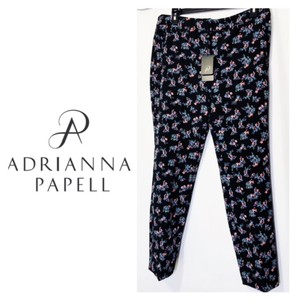 Adrianna Papell Pockets Leg Fitted Floral Print Stretch Weave Straight Pants Black
